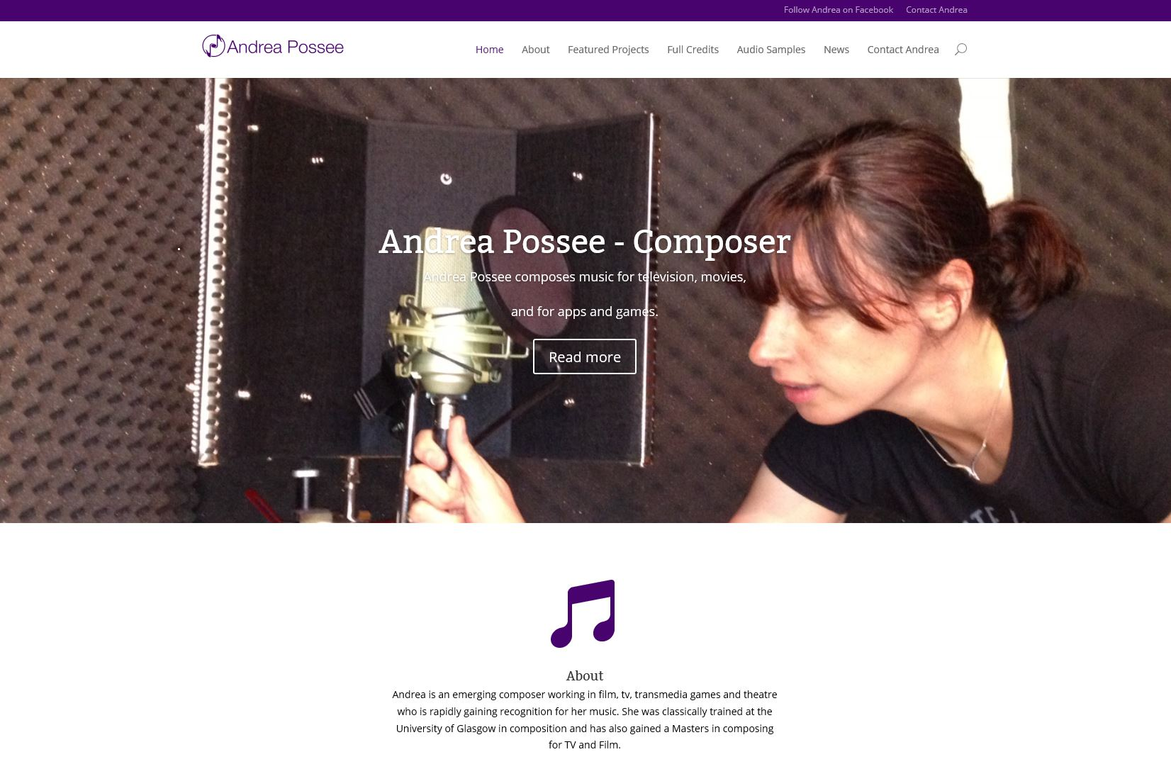 New site for composer, Andrea Possee, developed by Chaos Created