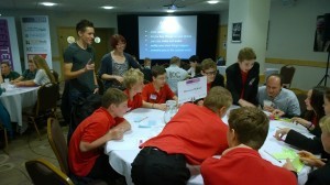 Ali Maggs from Chaos Created running the Innovation Zone App Design Workshops at TeenTech in Hull, alongside Liz Rice from TankTop TV.