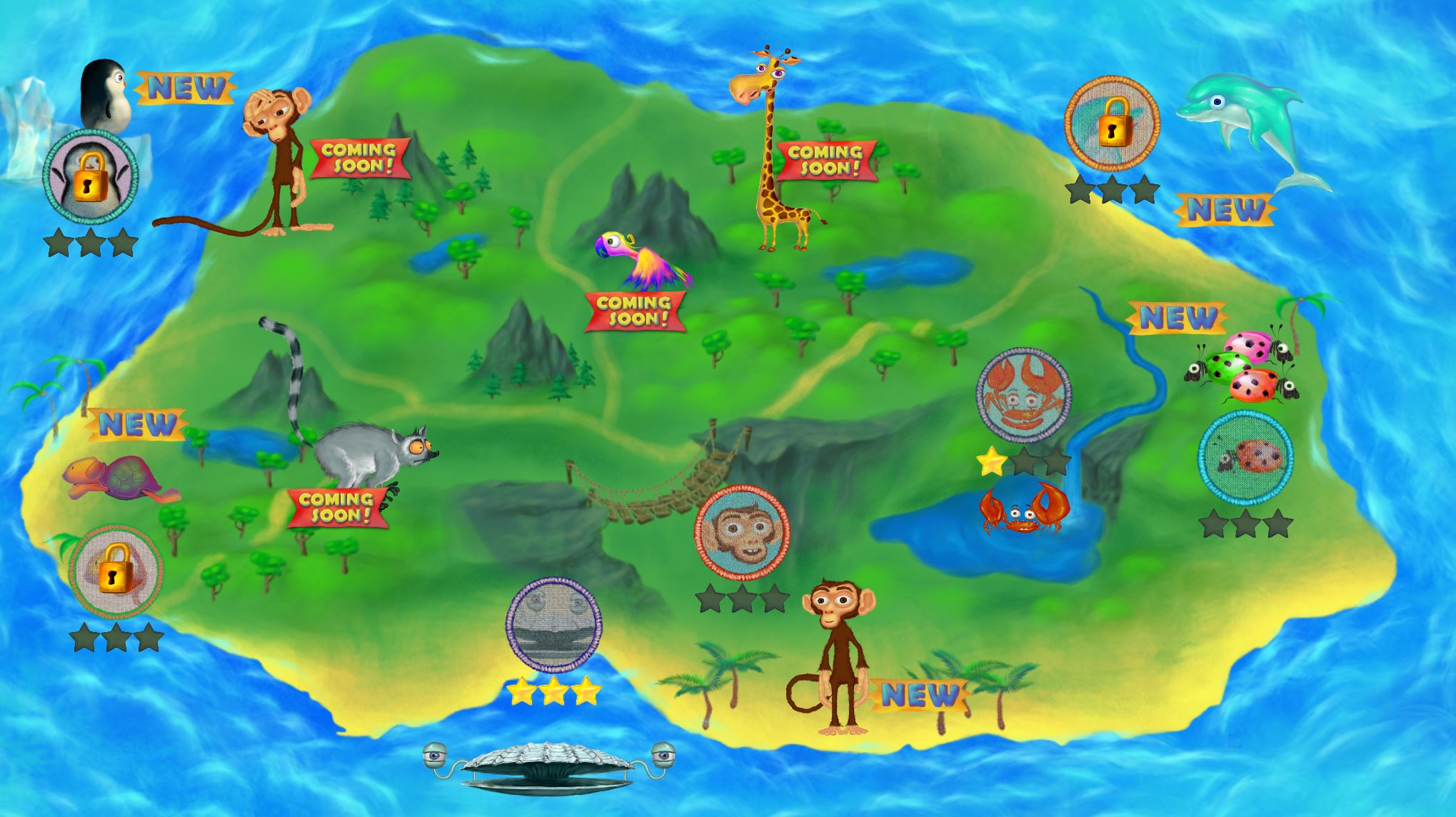 with langeroo adventures we want our home screen to invite exploration itneeds to be bright and visual and it needs to showcase the available gamesin . langeroo adventures development diaries  the map  chaos created