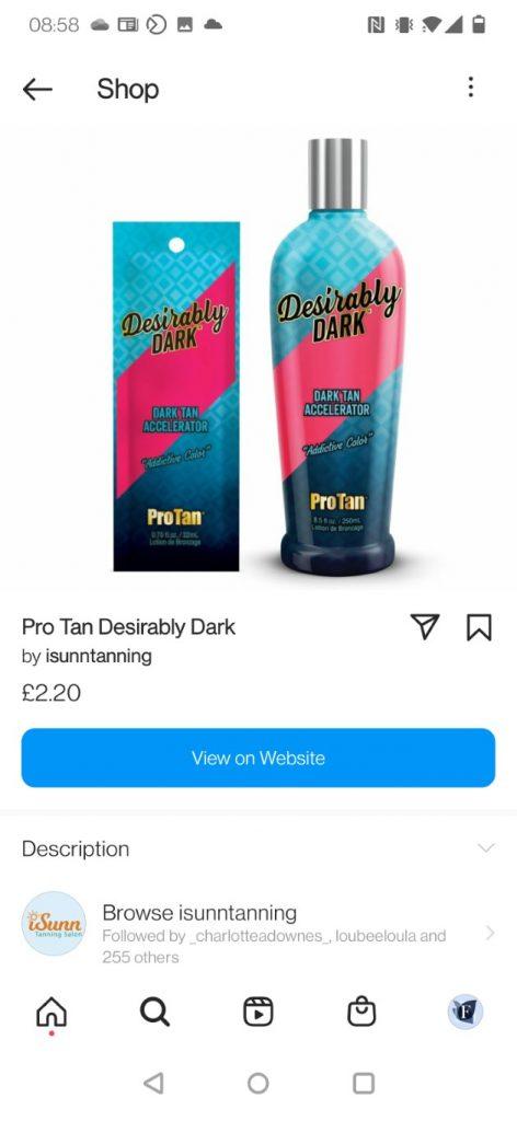 iSunn Tanning Salon online store on Instagram