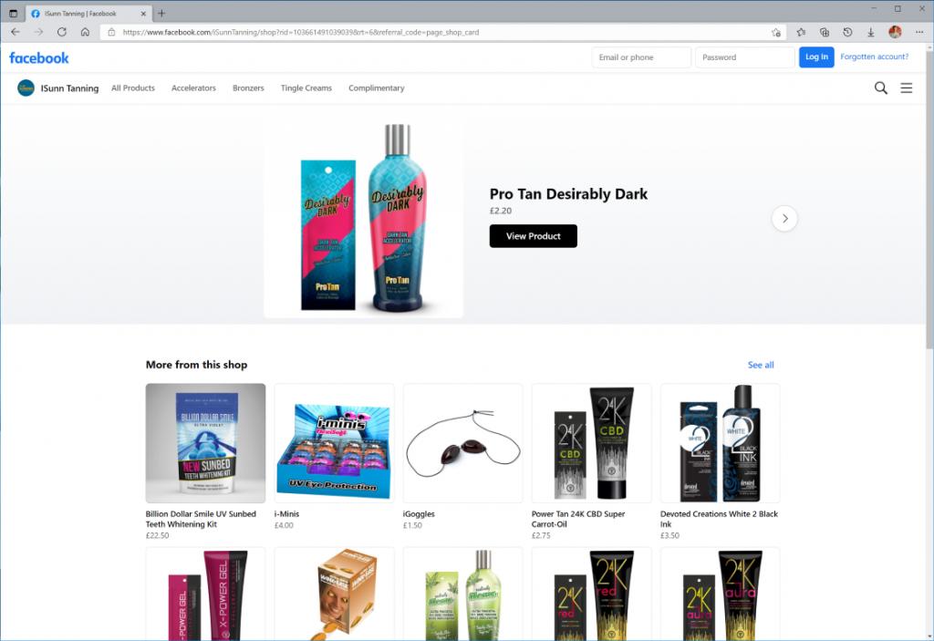 iSunn Tanning Salon online store on Facebook